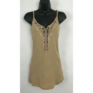 Guess Beige Embellished Applique Spaghetti Strap M